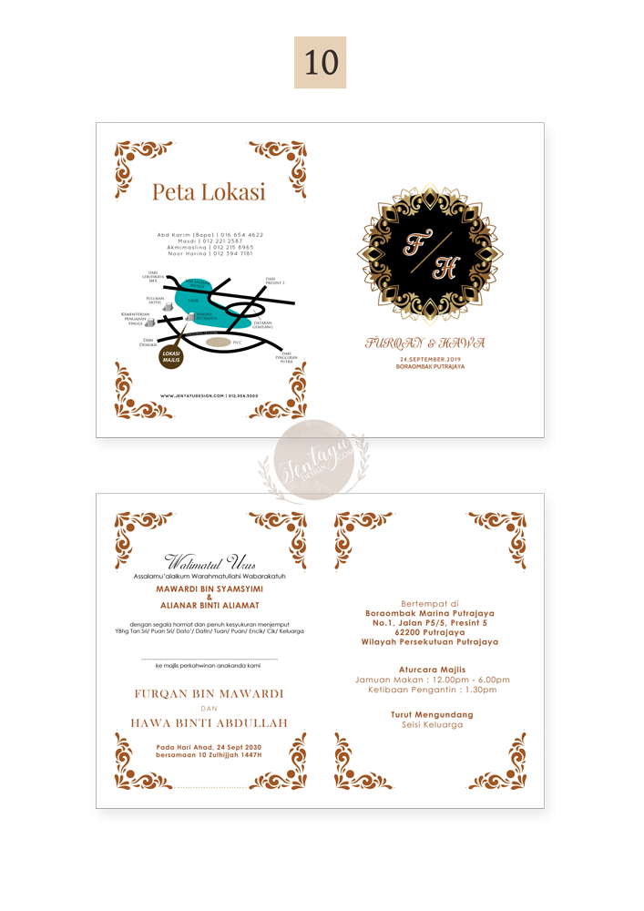 jentayu design kad kahwin warna penuh berlipat ekspress segera siap 1 hari bekerja full colour color folded wedding cards A4 A5 A6 5x7 urgent express ready in 1 working day