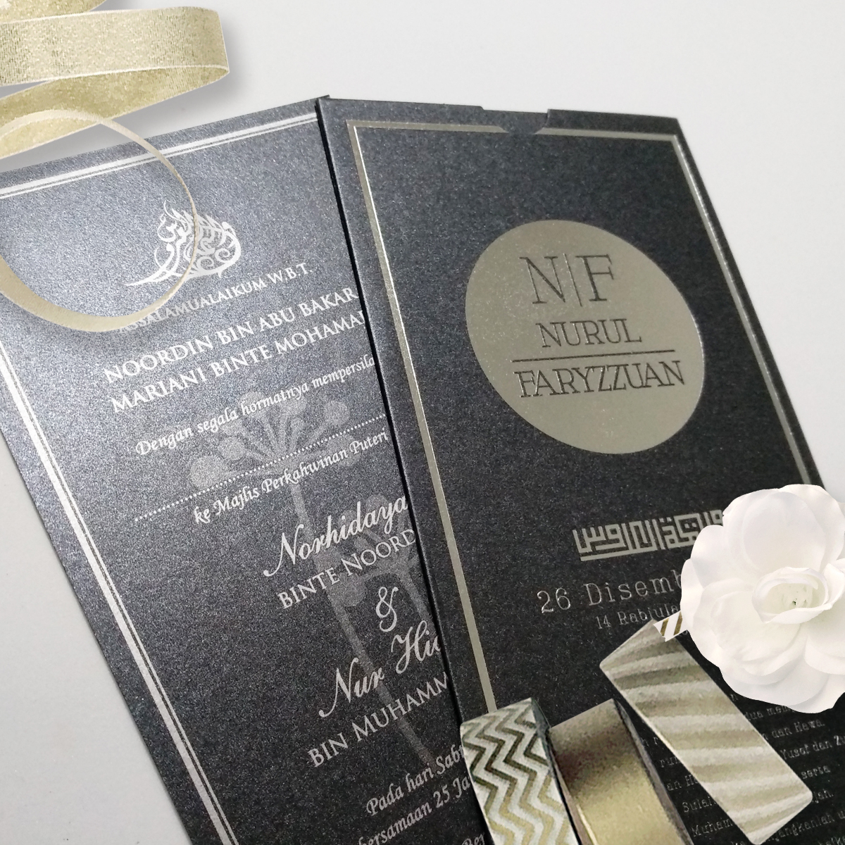 jentayu design kad kahwin poket pocket series metallic black hot stamping silver wedding cards malaysia