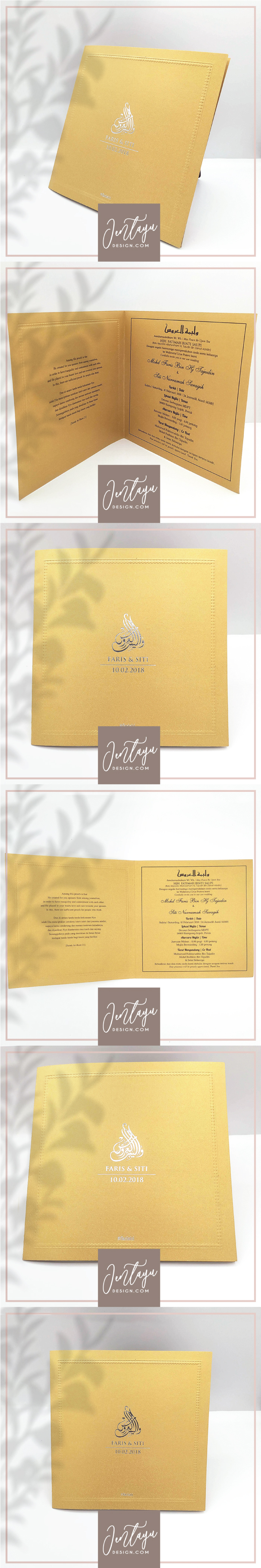 jentayu design kad kahwin formal vip royal berlipat metallic folded wedding cards square 6x6