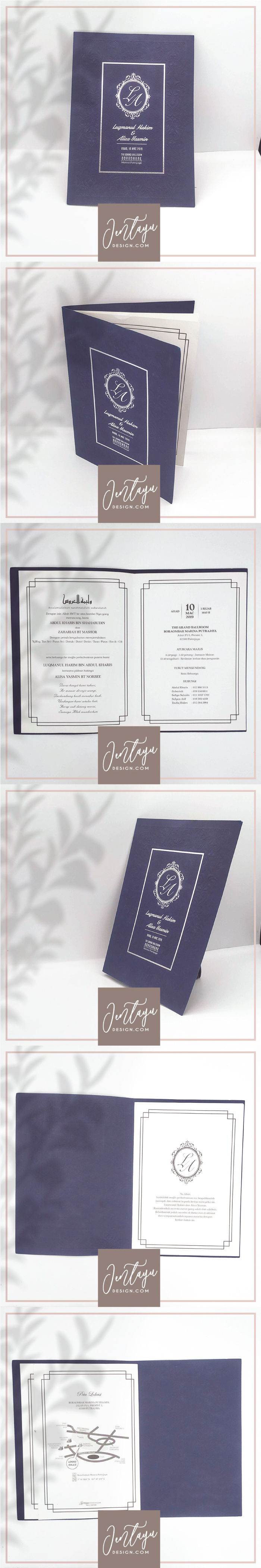 jentayu design kad kahwin formal vip royal berlipat metallic folded wedding cards A4 A5