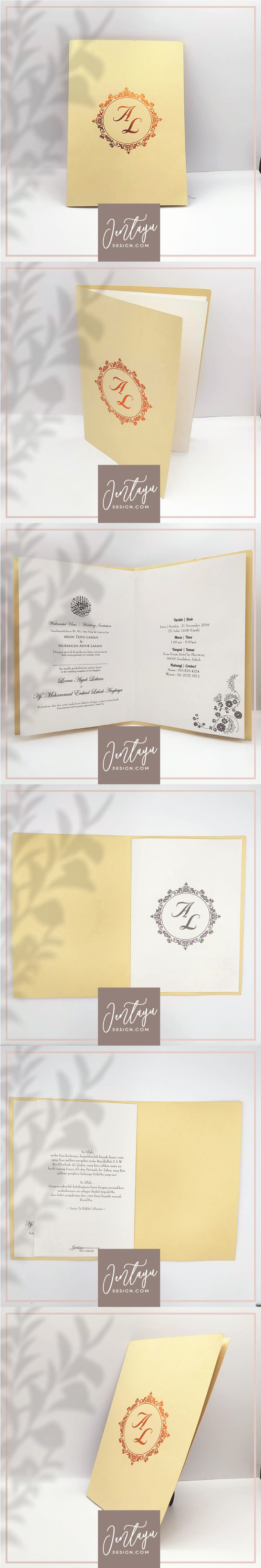 jentayu design kad kahwin formal vip royal berlipat metallic folded wedding cards A4 A5